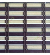 Brown purple white color horizontal stripes transparent flat scale and cylinder stick with vertical thread stripes rollup mechanism PVC Blinds