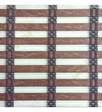 Brown color horizontal stripes flat scale and transparent cylinder stick with vertical thread stripes rollup mechanism PVC Blinds