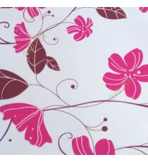 Beautiful natural pink brown white color floral swirls circles tendrils butterfly traditional look roller blind