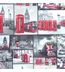 Beautiful kids red grey white black yellow color double decker bus telephone booth car england flag clouds night scene bridge capital clock roller blind