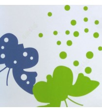Beautiful green blue white color flying butterfly geometric small cicrles natural elegant look roller blind