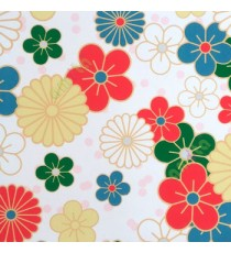 Beautiful red blue white yellow green color flower design floral pattern roller blind