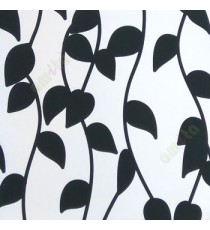 Black and white color leafy pattern vertical hanging trendy lines with beautiful leaf designs texture finished roller blind
