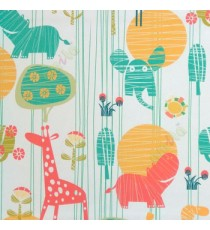 Beautiful kids blue yellow green white orange color elephant tree giraffe flower animals pattern roller blind