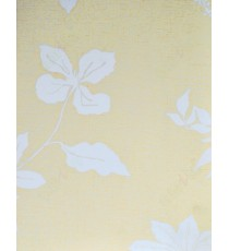 White beige color floral design poly blackout roller blind   109396