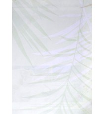 White green color leaf pattern poly fab roller blind   109397