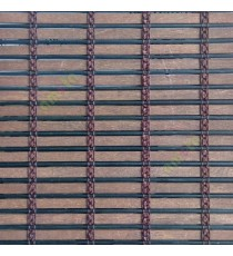 Dark brown color horizontal stripes wooden slats with sticks vertical thread weaving stripes rollup chain roman chain and lock pulley system blinds