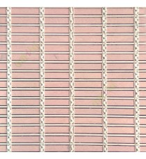 Peach beige cream color horizontal stripes wooden slats with sticks vertical thread weaving stripes rollup chain roman chain and lock pulley system blinds