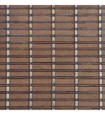Brown gold color horizontal stripes wooden slats with sticks vertical thread weaving stripes rollup chain roman chain and lock pulley system blinds
