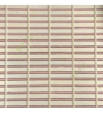 Beige peach cream color horizontal stripes wooden slats with sticks vertical thread weaving stripes rollup chain roman chain and lock pulley system blinds