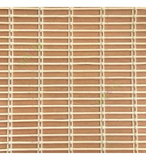 Beige mustard yellow color horizontal stripes wooden slats with overlapping sticks vertical thread weaving stripes rollup chain roman chain and lock pulley system blinds
