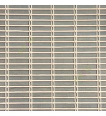 Grey beige color horizontal stripes wooden slats with overlapping sticks vertical thread weaving stripes rollup chain roman chain and lock pulley system blinds
