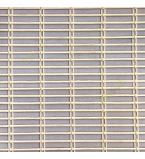 Grey beige cream color horizontal stripes wooden slats with overlapping sticks vertical thread weaving stripes rollup chain roman chain and lock pulley system blinds