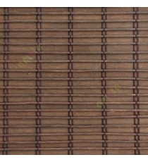 Dark brown color horizontal stripes wooden slats with overlapping sticks vertical thread weaving stripes rollup chain roman chain and lock pulley system blinds