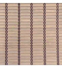 Brown beige color horizontal stripes wooden slats with overlapping sticks vertical thread weaving stripes rollup chain roman chain and lock pulley system blinds