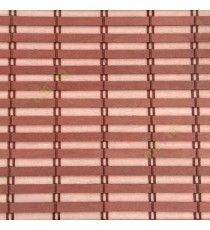 Brown peach color horizontal stripes wooden slats with overlapping sticks vertical thread weaving stripes rollup chain roman chain and lock pulley system blinds