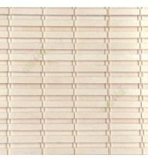 Cream color horizontal stripes wooden slats with overlapping sticks vertical thread weaving stripes rollup chain roman chain and lock pulley system blinds