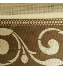 Gold brown color traditional design textured finished swirls pattern zebra blind