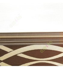 Gold brown color horizontal flowing stripes design textured finished embossed horizontal pipes zebra blind