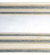 Grey cream beige color horizontal stripes with transparent net fabric embossed pattern textured finished background zebra blind