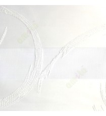 Pure white gold color embroidery swirls pattern textured background with transparent net finished fabric zebra blind