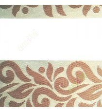 Brown beige color traditional design textured finished background with transparent net finished fabric zebra blind