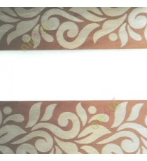 Beige brown color traditional design textured finished background with transparent net finished fabric zebra blind