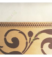 Dark brown gold color traditional design swirls pattern textured finished background with transparent net fabric zebra blind