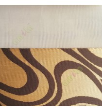 Dark brown gold color traditional design flowing lines pattern textured finished background with transparent net fabric zebra blind