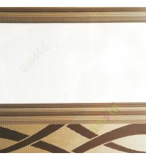 Brown gold color horizontal embossed stripes textured finished background flowing lines design with transparent net finished fabric zebra blind