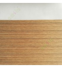 Brown color horizontal stripes textured finished background with transparent net finished fabric zebra blind