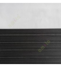 Black color horizontal stripes textured finished background with transparent net finished fabric zebra blind