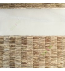 Brown beige color Vertical stripes with horizontal thread lines soft finished with transparent net fabric zebra blind
