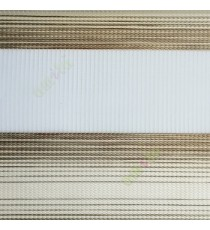 Brown cream color horizontal stripes textured finished background with transparent net fabric zebra blind