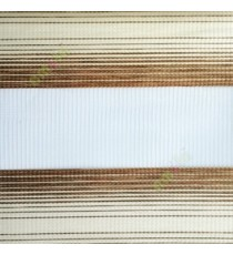 Mustard yellow cream color horizontal stripes textured finished background with transparent net fabric zebra blind