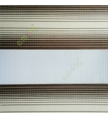 Dark brown cream color horizontal stripes textured finished background with transparent net fabric zebra blind