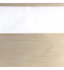 Beige grey color horizontal textured stripes with vertical lines and transparent net fabric zebra blind