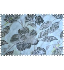Black white brown big traditional flower design poly sheer curtain designs