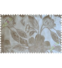 White brown big traditional flower design poly main curtain designs