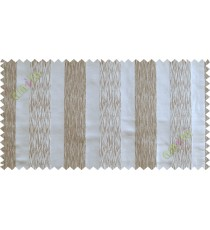 White brown vertical bold stripes poly main curtain designs
