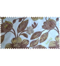 Brown green white big traditional flower design poly sheer curtain designs