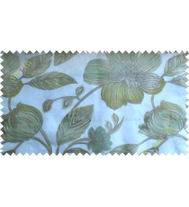 Green white brown big traditional flower design poly sheer curtain designs