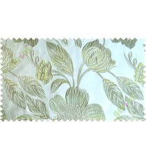 Green white brown big traditional flower design poly main curtain designs