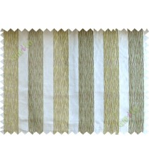 Green white brown vertical bold stripes poly main curtain designs