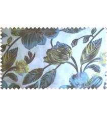 Blue black white big traditional flower design poly sheer curtain designs