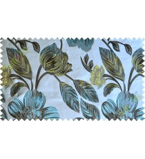 Blue black white green big traditional flower design poly main curtain designs