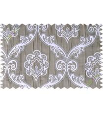 Grey silver brown motiff poly main curtain designs