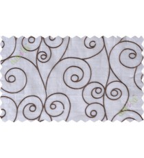 Grey white scroll poly sheer curtain designs