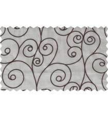 Beige brown scroll poly sheer curtain designs
