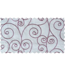 Pink white scroll poly sheer curtain designs